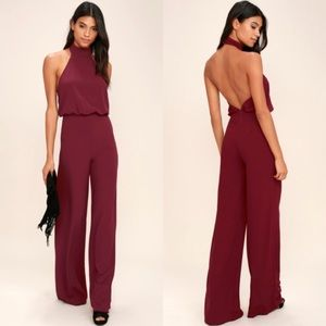 NWT Lulu's Moment For Life Halter Jumpuit Red Wine